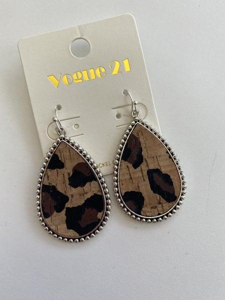 Leopard Cork Silver Metal Back Earring