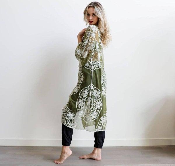 Taylor Lace Kimono in Olive