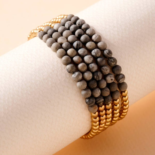 Stone Metal Beaded Stretchy Bracelet Set- Grey