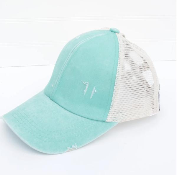 Distressed Criss Cross Ponytail Baseball Hat Mint