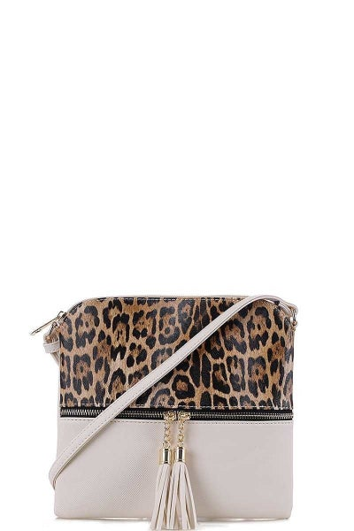 Leopard Crossbody White Purse