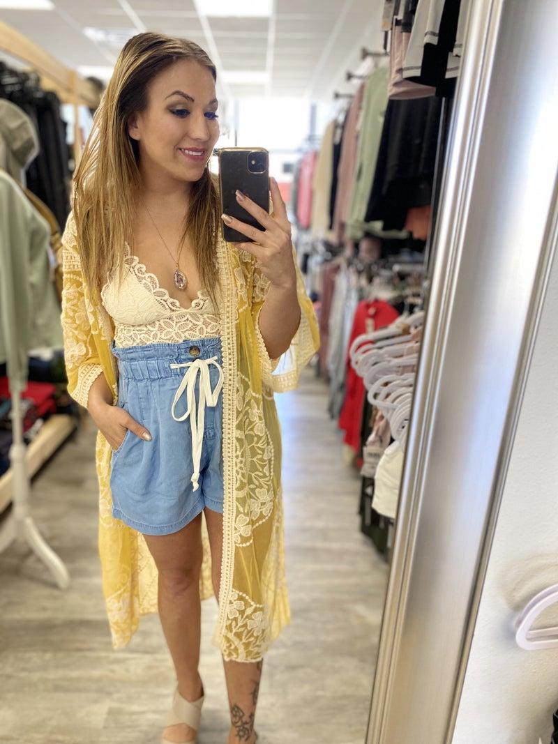 Taylor Lace Kimono in Mustard