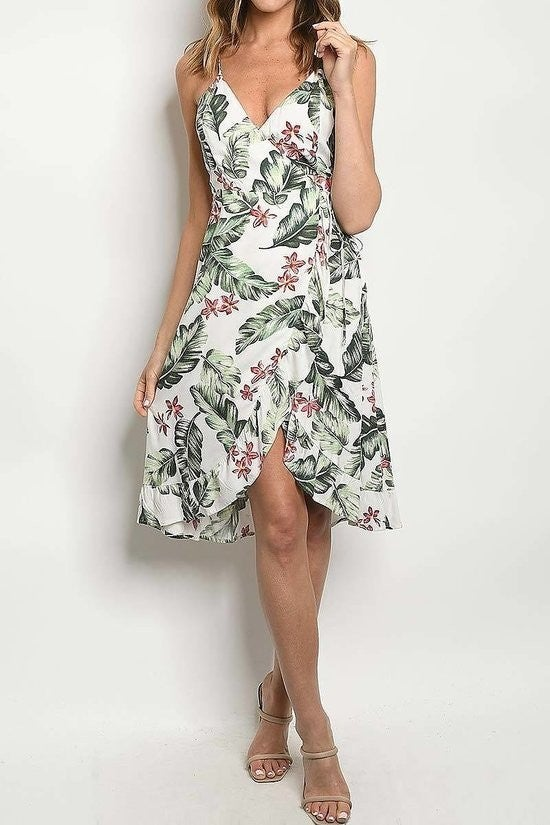 Leaf Floral Wrap Dress