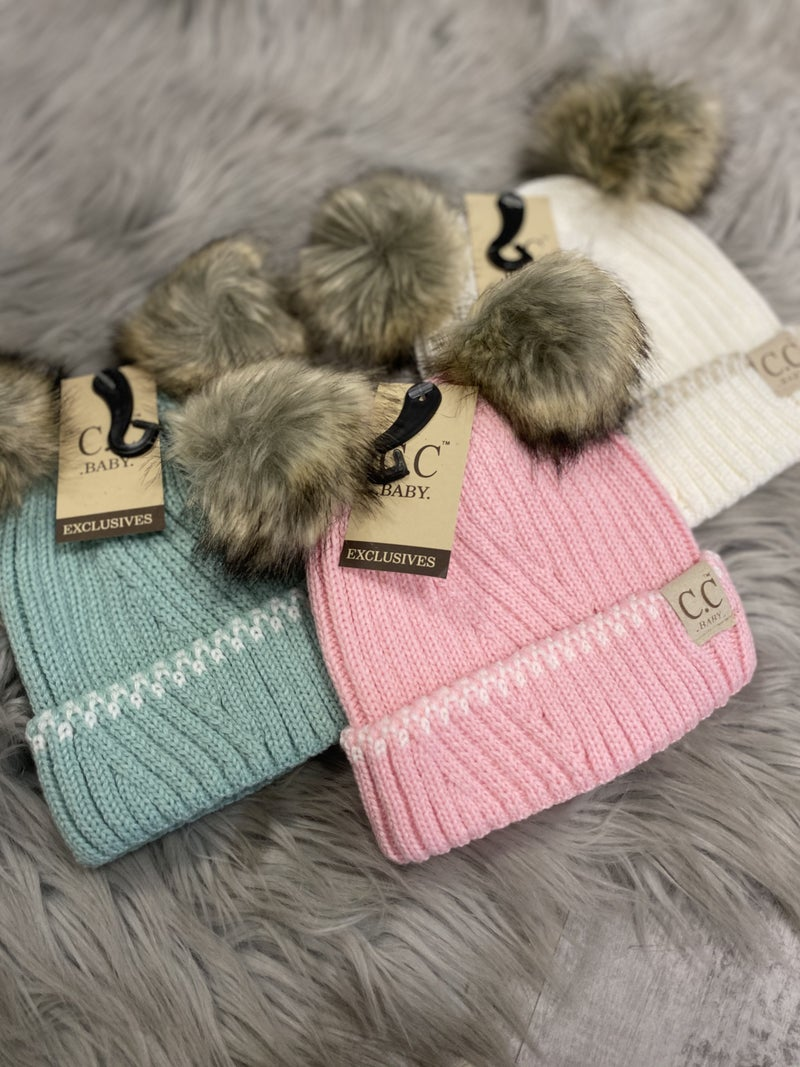 CC Baby Solid Knit Double Pom Hat