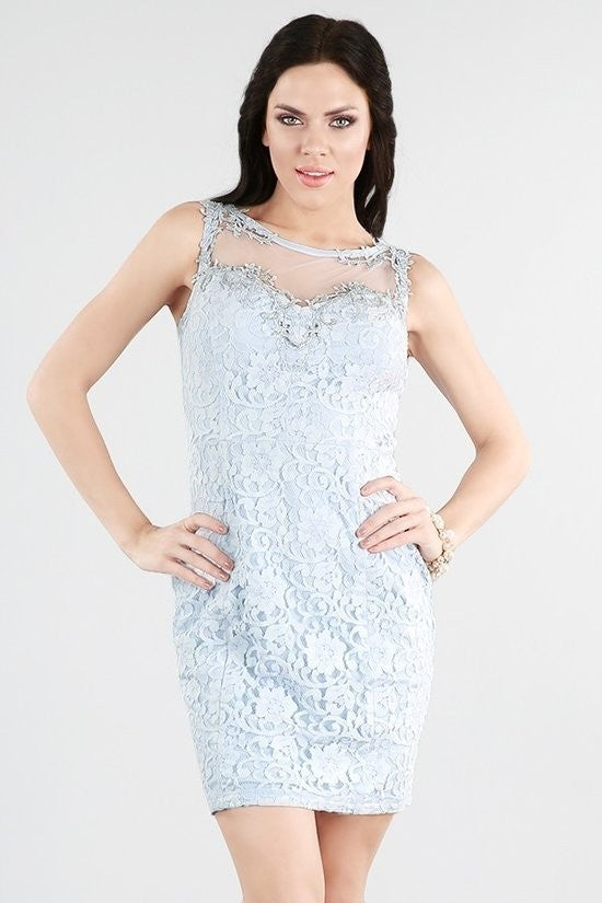 Lace Blue Cocktail Dress
