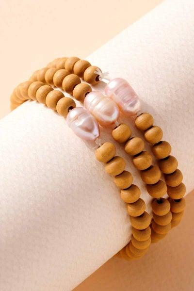 Fresh Water Pearl Wood Beaded Bracelet Set