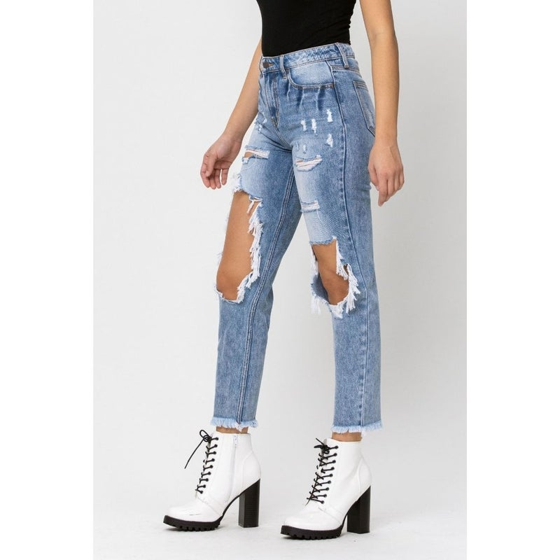 Cello Distressed Mom Fit Jeans