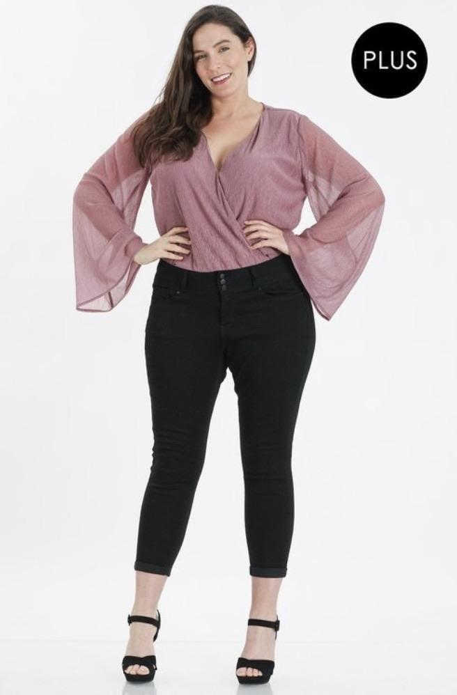 Hannah Semi Sheer Bodysuit (pink or black)