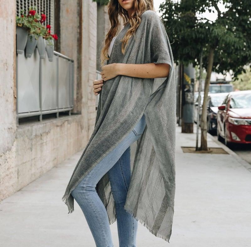 Grey One Size Kimono