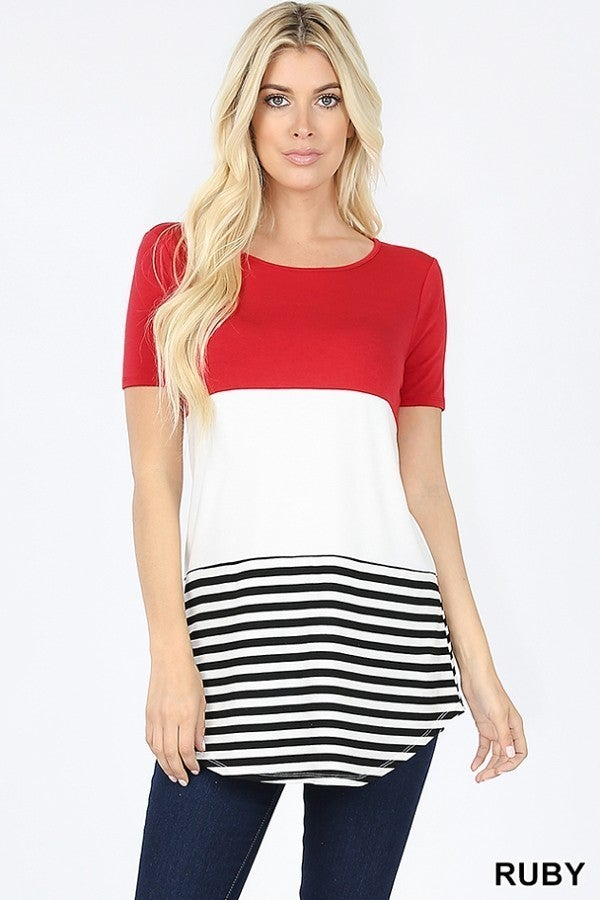 Red Colorblock Tee all sizes