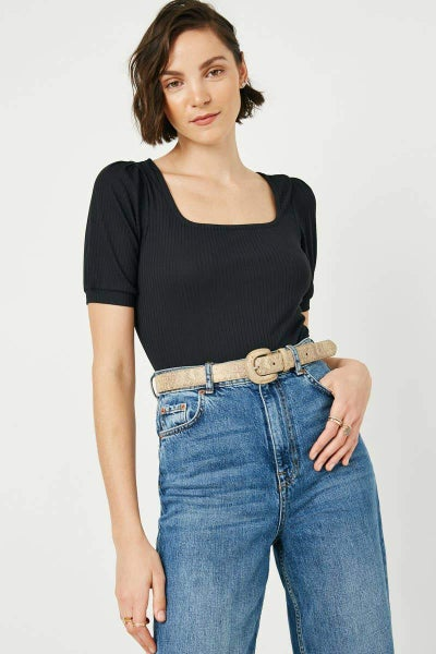 Jane Square Neck Ribbed Knit Bodysuit