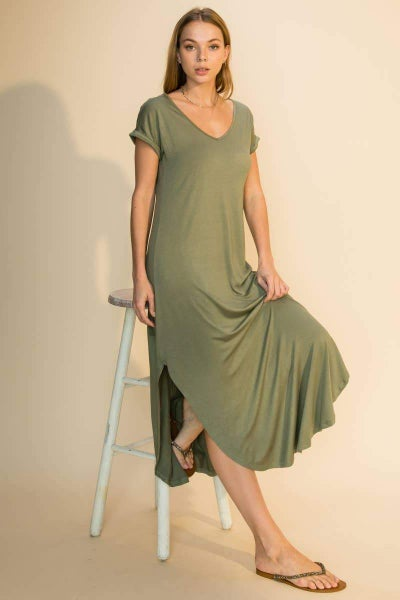 Summer T-Shirt Dress in Olive