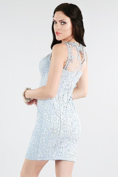 Lace Blue Cocktail Dress