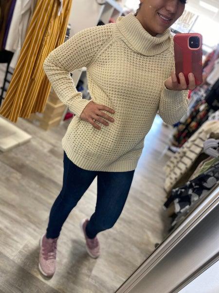 Cowl Neck Waffle Sweater