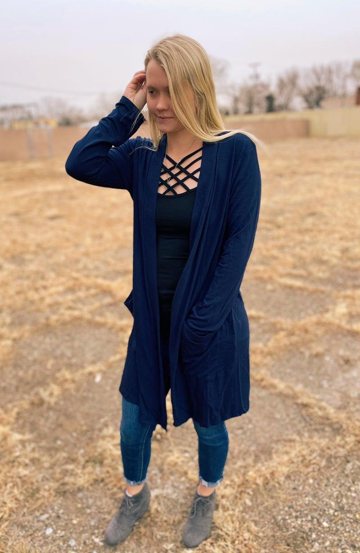 The Olivia Cardigan (Blue + Navy)
