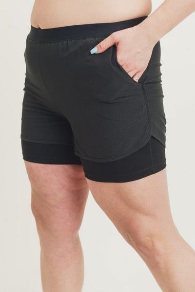 Lined Perforated Shorts in Curvy by Mono B (3x only available)