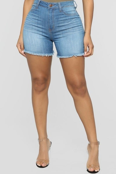 Frayed high-rise shorts