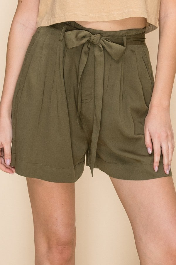 Olive Highwaist Paperbag Shorts *Final Sale*