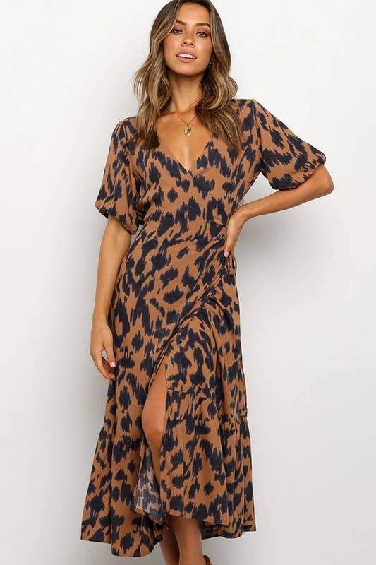 Tan Leopard Print Wrap Dress