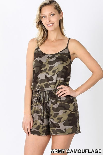 Camo Romper Spaghetti Strap (2 color) *Final Sale*