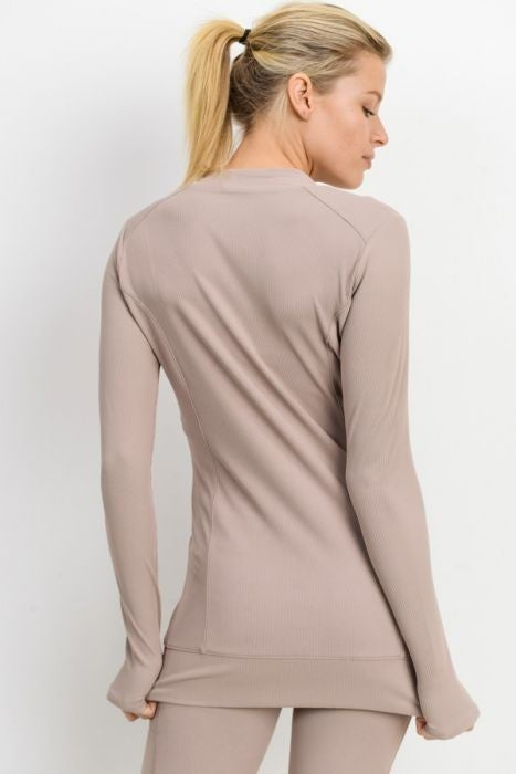 All Over Ribbed Slim Active Jacket by Mono B