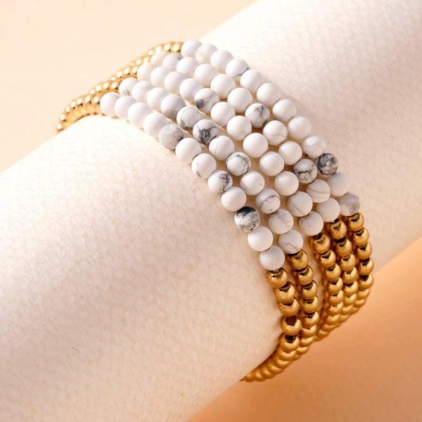 Stone Metal Beaded Stretchy Bracelet Set- White Marble