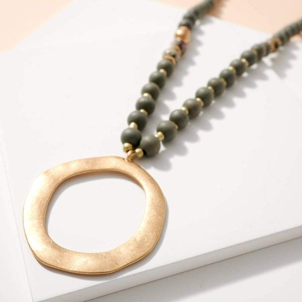 O Pendant Wood Stone Beads Long Necklace- Grey