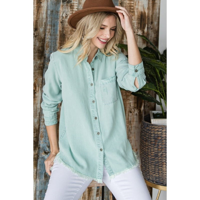 Button Down Chambray Top