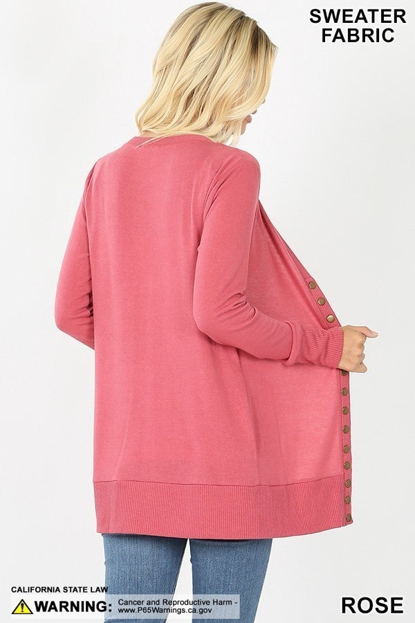 Snap Button Cardigan All Sizes (Multiple Colors)