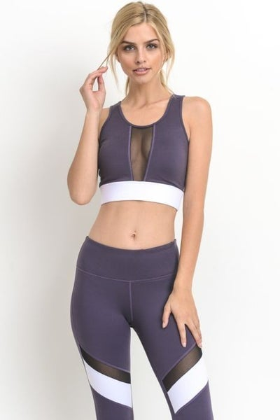 Mesh Plum Sports Bra by Mono B