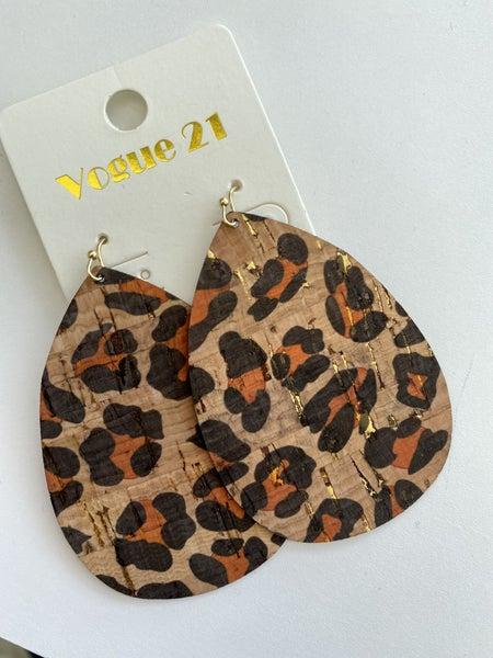 Leopard Cork Earring