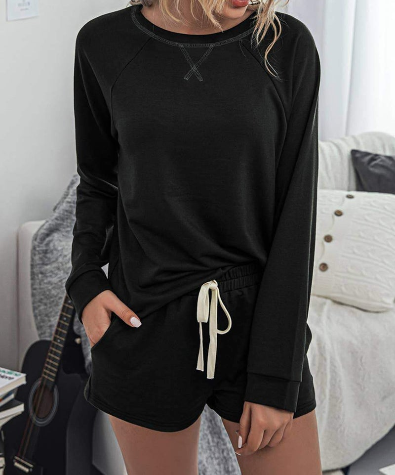 Pullover and Shorts Lounge Set in Black