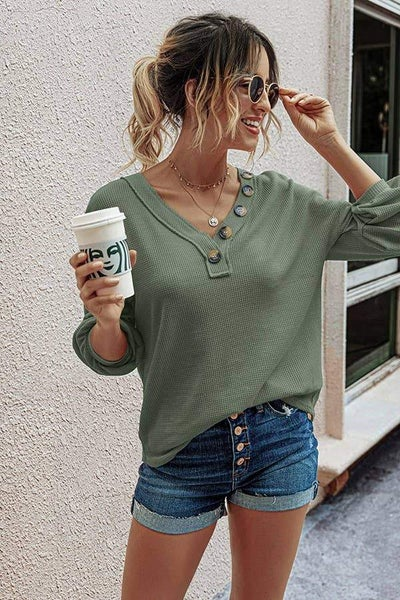 Waffle Button Long Sleeve Top