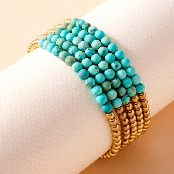 Stone Metal Beaded Stretchy Bracelet Set- Turqoise