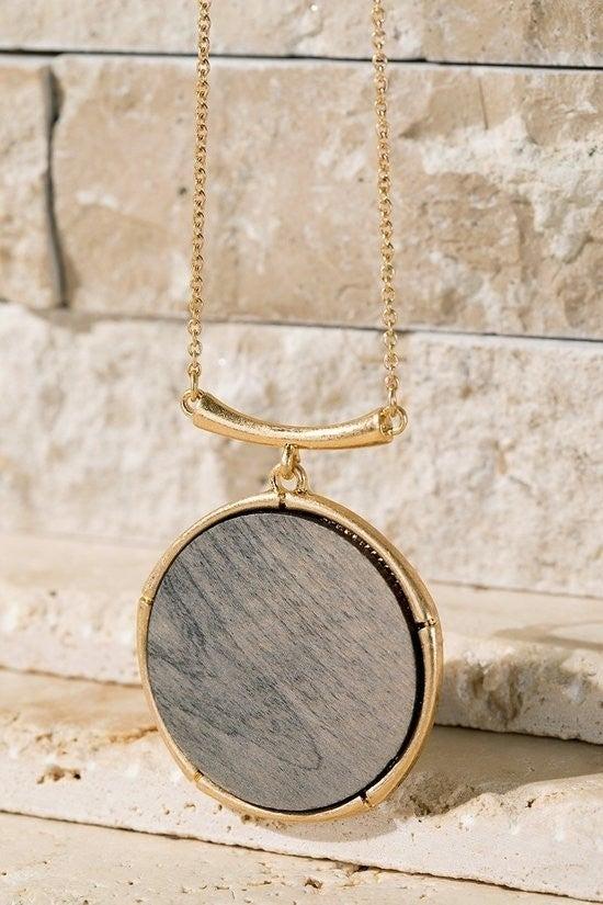Woodgrain Pendant Necklace (Multiple Colors)