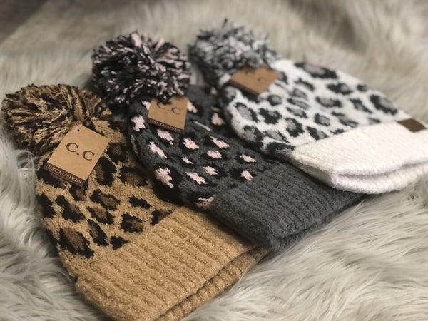 C.C Leopard Knit Beanie