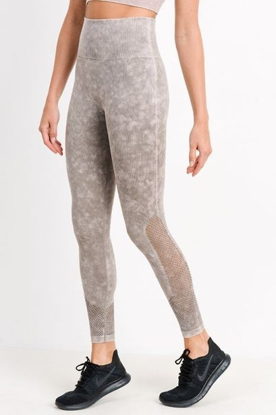 Mineral Wash Mesh Legging in Stone by Mono B