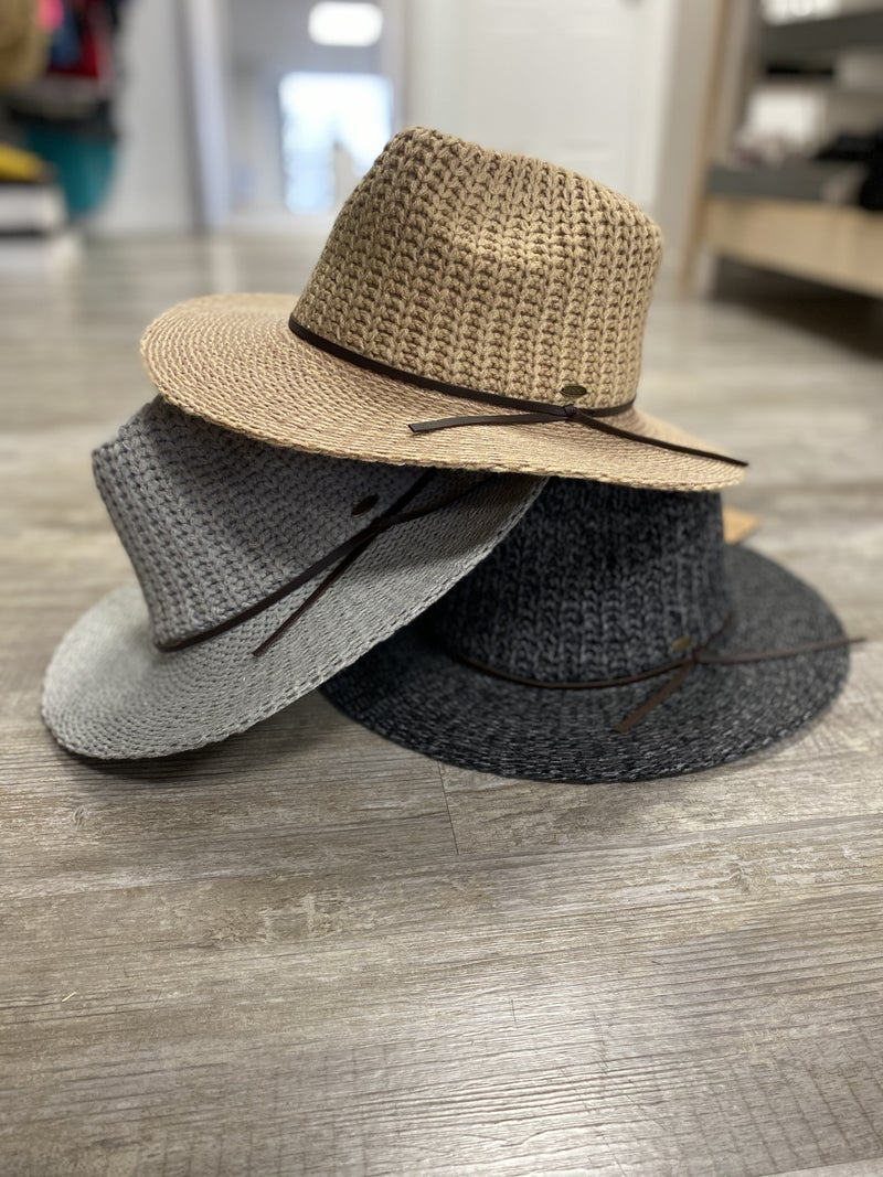 CC Knitted Wide Brim Hat (Multiple Colors)