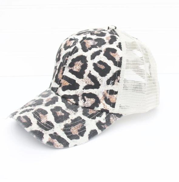 Distressed Criss Cross Ponytail Baseball Hat Leopard