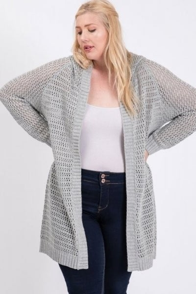 Open Stitch Cardigan in Curvy