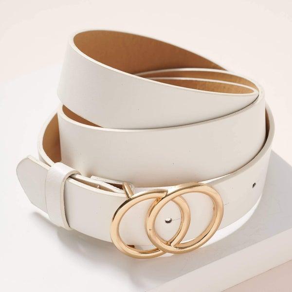 Double Buckle belt white