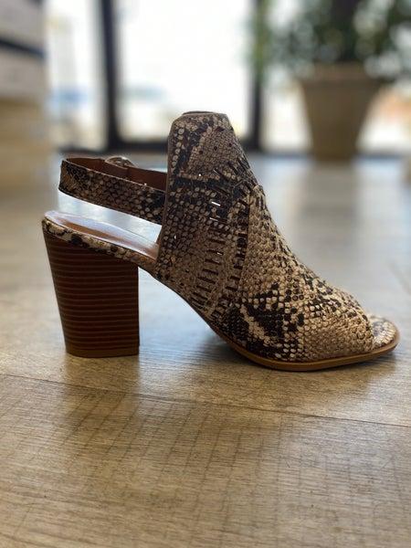 Snake Print Peep Toe Shoe