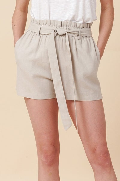 Simple Paperbag Highwaist Shorts in Grey