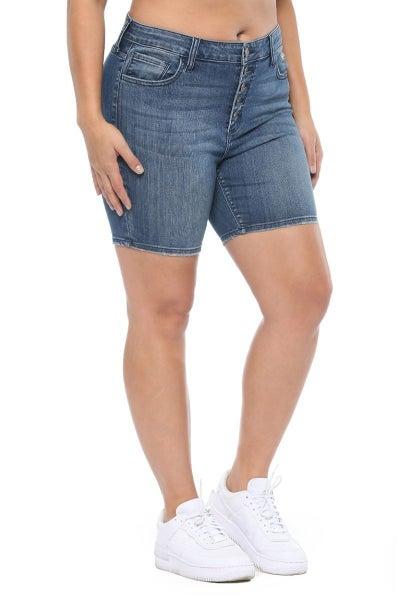 light wash Bermuda high-rise shorts *Final Sale*