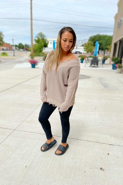 Rachel Distressed Sweater in Mocha
