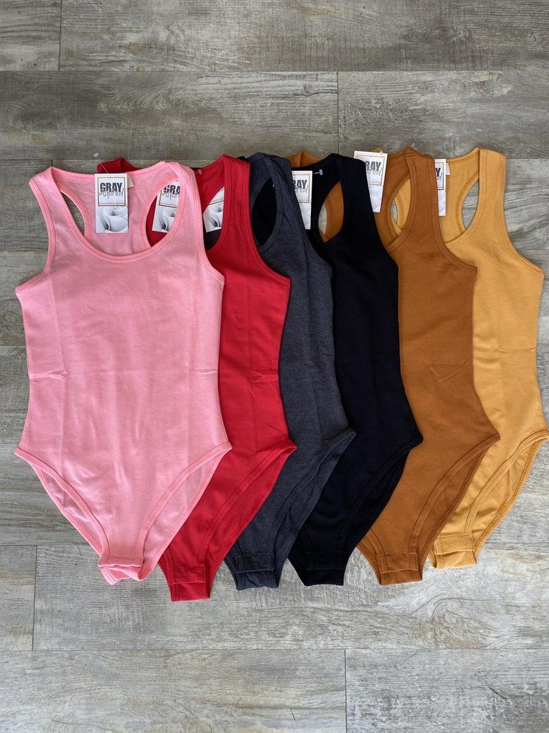 Everyday Bodysuit (Pink, Red, Grey, Black, Mocha, Mustard)