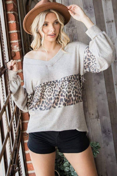 Super Soft Animal Print Color Block Top all sizes