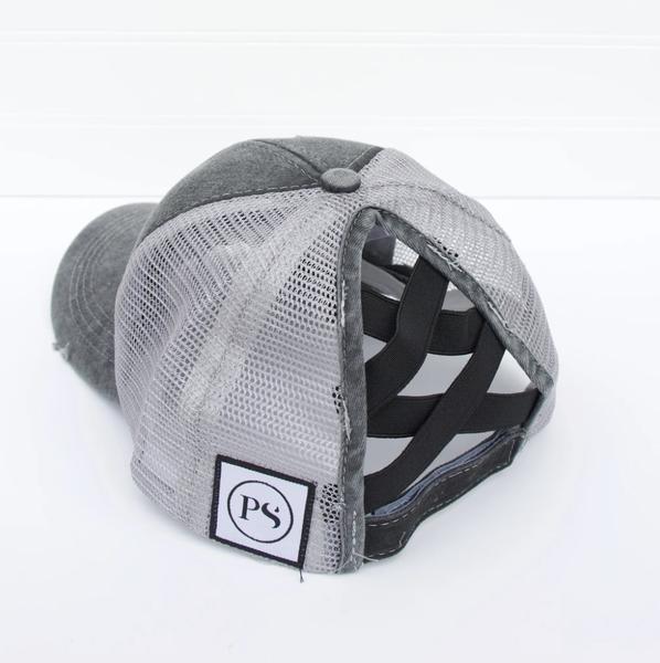 Distressed Criss Cross Ponytail Baseball Hat Grey