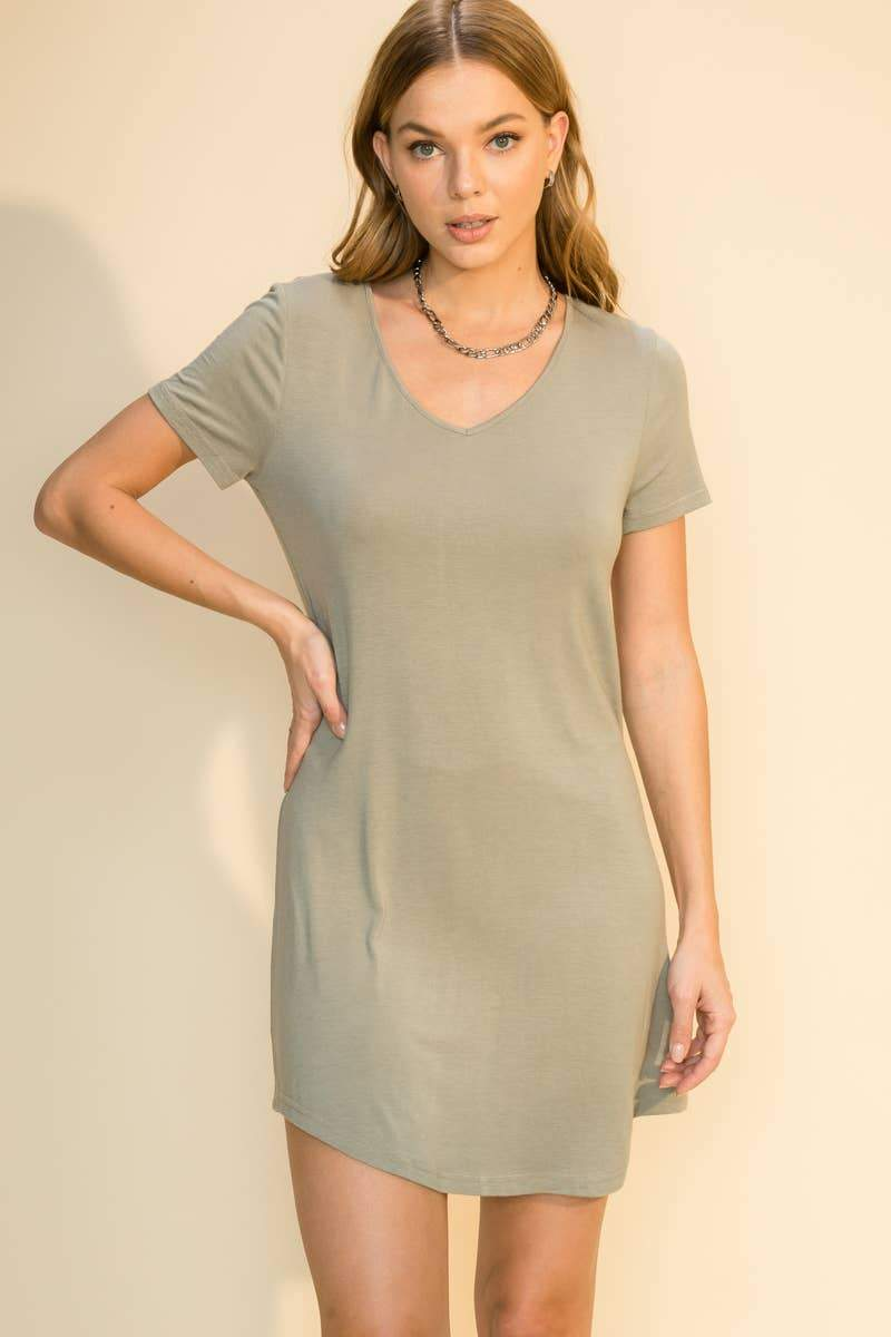 Simple T-Shirt Dress in Sage