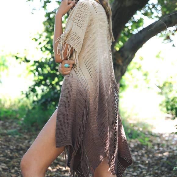Fringe Boho Style Ombre Kimono